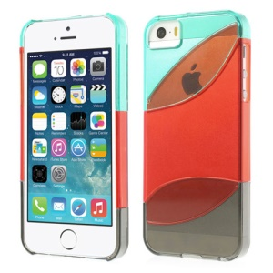 Three Pieces Tri-color Hard Plastic Case for iPhone 5s 5 - Cyan / Red / Grey