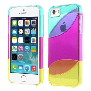 Three Pieces Tri-color Hard Back Case for iPhone 5s 5 - Cyan / Purple / Yellow