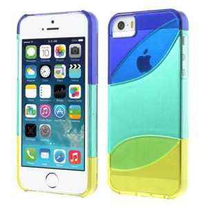 Three Pieces Tri-color Hard Protective Case for iPhone 5s 5 - Dark Blue / Cyan / Yellow