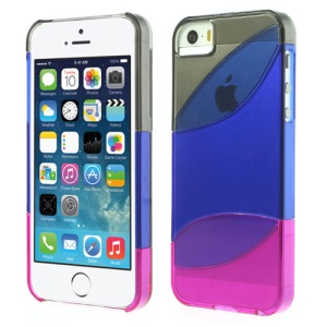 Three Pieces Tri-color Hard Shell Cover for iPhone 5s 5 - Grey / Dark Blue / Purple