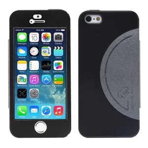 USAMS King Kong Series Flip Leather Coated Metal Case w/ Screen Faceplate for iPhone 5 5s - Black