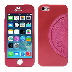 USAMS King Kong Series Flip Aluminum Case w/ Screen Faceplate for iPhone 5 5s - Red