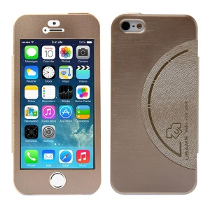 USAMS King Kong Series Aluminum Back Case w/ Screen Faceplate for iPhone 5 5s - Gold