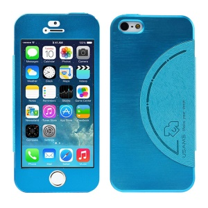 USAMS King Kong Series Aluminum Back Cover w/ Screen Faceplate for iPhone 5 5s - Blue