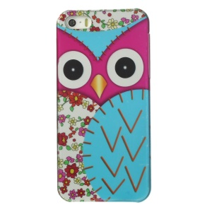 Owl Pattern IMD Hard Back Case for iPhone 5s 5 - Light Blue