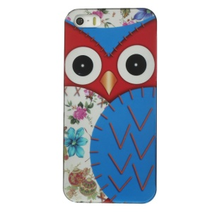 Owl Pattern IMD Hard Plastic Cover for iPhone 5s 5 - Dark Blue