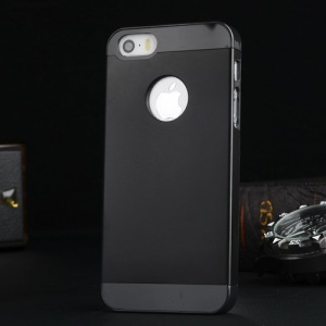 Metal Plate Hard PC Back Case for iPhone 5s 5 - Black