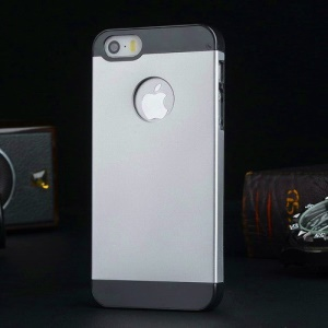 Metal Plate Hard PC Back Case for iPhone 5s 5 - Black / Silver