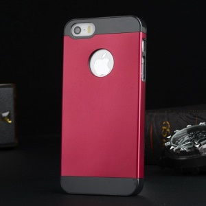 Metal Plate Hard PC Back Case for iPhone 5s 5 - Black / Red