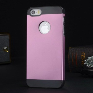 Metal Plate Hard PC Shell Case for iPhone 5s 5 - Black / Pink