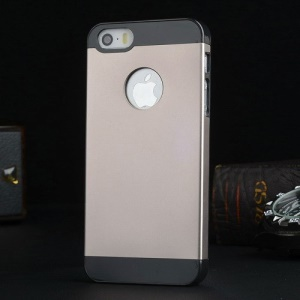 Metal Plate Hard PC Shell Case for iPhone 5s 5 - Black / Champagne