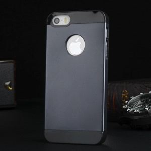 Metal Plate Coated Plastic Case for iPhone 5s 5 - Black / Dark Blue