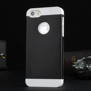 Metal Plate Coated Plastic Case for iPhone 5s 5 - White / Black