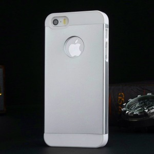 Metal Plate Coated Plastic Case for iPhone 5s 5 - White / Silver