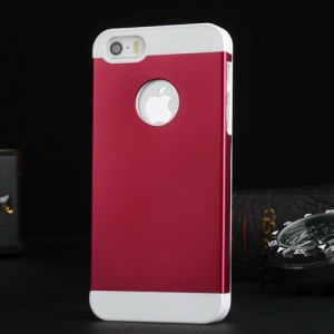 Metal Plate Coated Plastic Case for iPhone 5s 5 - White / Red