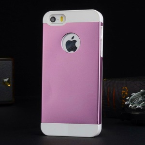 Metal Plate Coated PC Hard Cover for iPhone 5s 5 - White / Pink