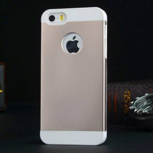 Metal Plate Coated PC Hard Cover for iPhone 5s 5 - White / Champagne