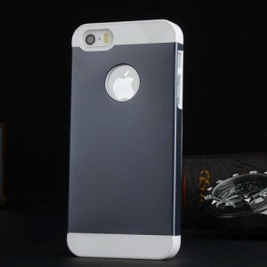 Metal Plate Coated PC Hard Shell for iPhone 5s 5 - White / Dark Blue