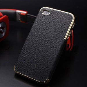 For iPhone 5 5s Cross Texture Leather Coated Plating Hard PC Case - Gold / Black