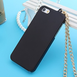Glossy Electroplating Plastic Case for iPhone 5s 5 with Chain - Black
