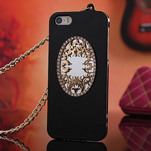 Diamond Real Mirror Plating Hard Cover for iPhone 5s 5 with Chain - Black