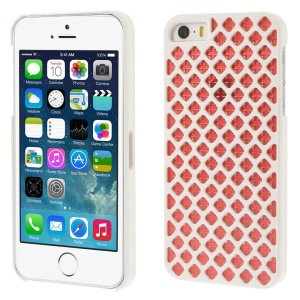 2 Pieces Hollow Mesh Pattern Plastic Case for iPhone 5s 5 - White / Red