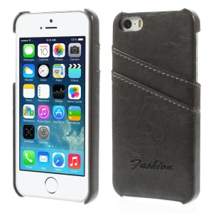 Oil Wax PU Leather Back Case w/ Card Slots for iPhone 5s 5 - Black