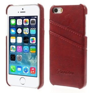 Oil Wax PU Leather Back Shell w/ Card Slots for iPhone 5s 5 - Red