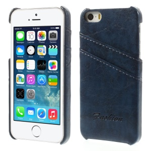 Oil Wax PU Leather Back Hard Cover w/ Card Slots for iPhone 5s 5 - Blue