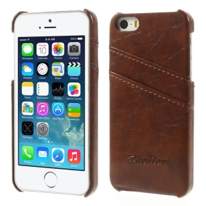 Oil Wax PU Leather Back Hard Shell w/ Card Slots for iPhone 5s 5 - Brown
