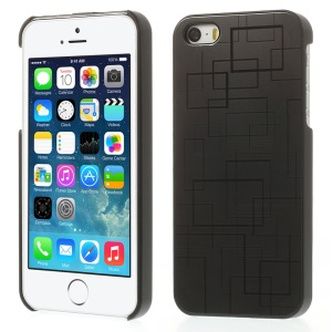 Square Pattern for iPhone 5s 5 Hard PC Case Shell w/ Gray Aluminum Sheet