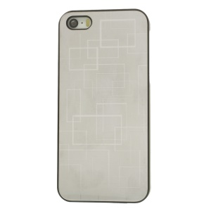 Protective PC Hard Cover w/ Silver Aluminum Sheet for iPhone 5s 5 - Square Pattern