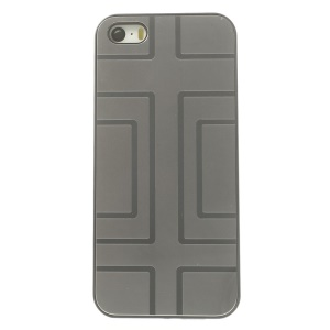 Protective PC Back Case w/ Silver Aluminum Sheet for iPhone 5s 5 - Geometry Pattern