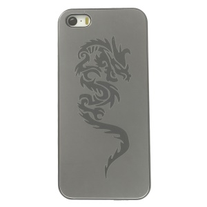 Protective Back Plastic Cover w/ Silver Aluminum Sheet for iPhone 5s 5 - Dragon Pattern