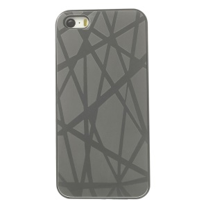 Protective Back Plastic Shell w/ Silver Aluminum Sheet for iPhone 5s 5 - Lines Pattern
