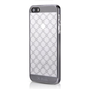 Mooke 0.79mm Electroplating PC Hard Case for iPhone 5s 5 - Black Rhombus