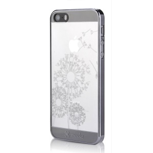 Mooke 0.79mm Electroplating PC Shell for iPhone 5s 5 - Black Dandelion