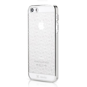 Mooke for iPhone 5s 5 0.79mm Electroplating Hard Shell - Silver Flower