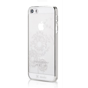 Mooke for iPhone 5s 5 0.79mm Electroplating PC Cover - Silver Dandelion