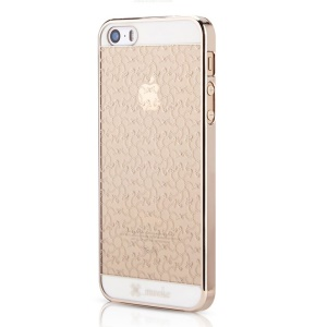 Mooke for iPhone 5s 5 0.79mm Plating Hard Case - Champagne Gold Flower