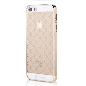 Mooke for iPhone 5s 5 0.79mm Plating PC Case - Champagne Gold Rhombus