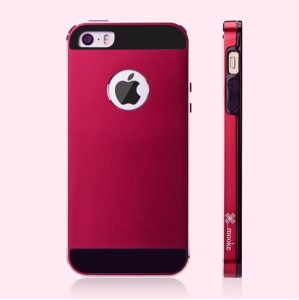 Mooke Aluminum Magnesium + Silicone Shell Case for iPhone 5s 5 - Wine Red