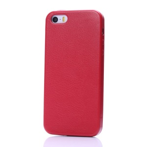 K-cool Litchi Texture PU Leather Hard Shell Cover for iPhone 5s 5 - Red