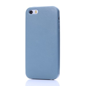 K-cool Litchi Texture PU Leather Back Cover for iPhone 5s 5 - Light Blue