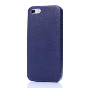 K-cool Litchi Texture PU Leather Back Shell for iPhone 5s 5 - Deep Blue