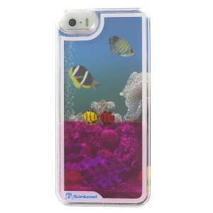 Sanlead Dynamic Undersea World Swimming Fish Plastic Hard Cover for iPhone 5s 5 - Rose
