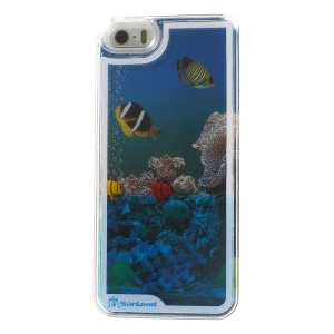 Sanlead Dynamic Undersea World Swimming Fish Plastic Hard Shell for iPhone 5s 5 - Blue