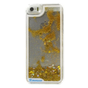 Sanlead Dynamic Flowing Stars & Glitter Powder Clear Plastic Hard Shell for iPhone 5s 5 - Gold