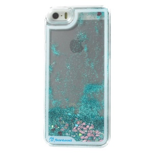 Sanlead Dynamic Flowing Stars & Glitter Powder Clear Hard Plastic Cover for iPhone 5s 5 - Blue