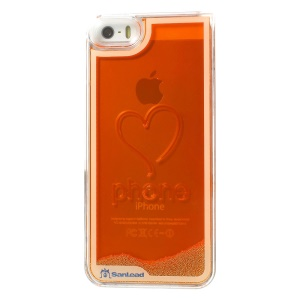 Sanlead Flowing Beads Love Heart Plastic Hard Back Cover for iPhone 5s 5 - Orange